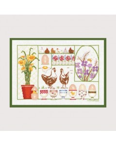 Easter. Counted cross stitch kit. Motive: Chickens and eggs. Item n° 1030. Le Bonheur des Dames