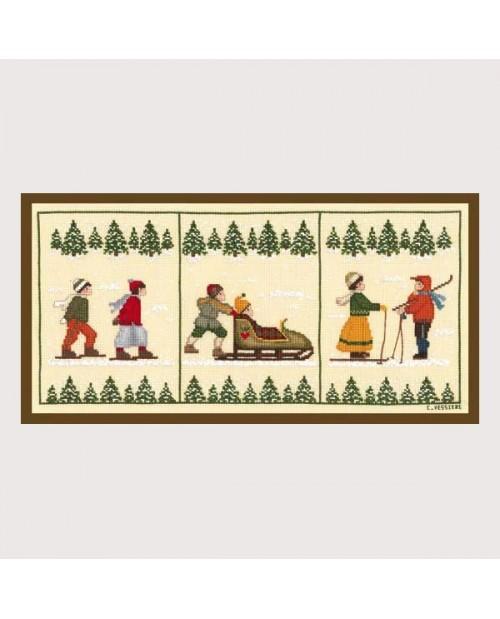 Skiers triptych