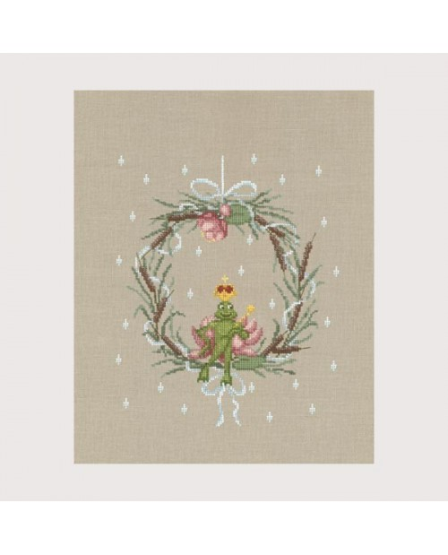 Counted cross stitch embroidery kit. Frog sitting on a crown. Le Bonheur des Dames 1087.