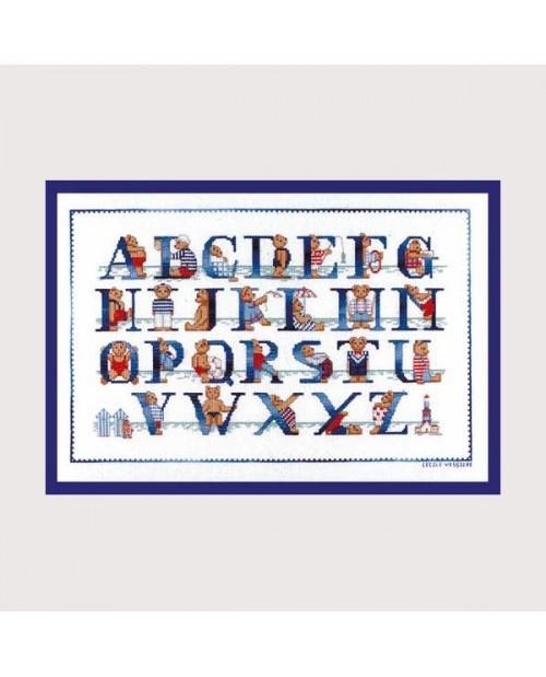 Abécédaire ours à la mer. Broderie sur toile Aida 5.5 cm. Kit à broder au point croix. Le Bonheur des Dames 1119
