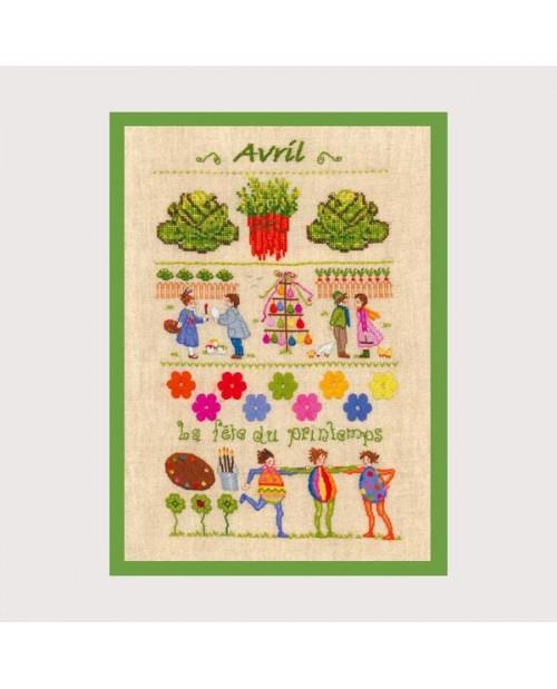 April motive  cross stitch and petit point embroidery. Le Bonheur des Dames.