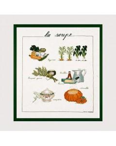 Kit broderie point de croix. Motif: ingrédients pour la soupe. Le Bonheur des dames 1180.
