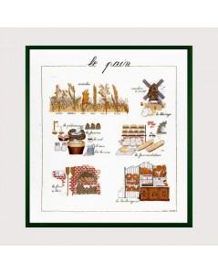 Le pain. Kit broderie point de croix sur lin. Ingrédients du pain, dégustation. Le Bonheur des Dames 1185