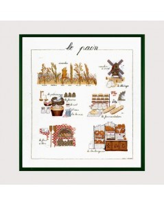 Bread. Counted cross stitch embroidery kit on linen. Bread ingredients. Le Bonheur des Dames 1185