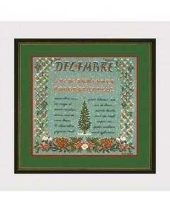 Abécédaire Décembre à broder au petit point. Kit broderie Le Bonheur des Dames n° 1189