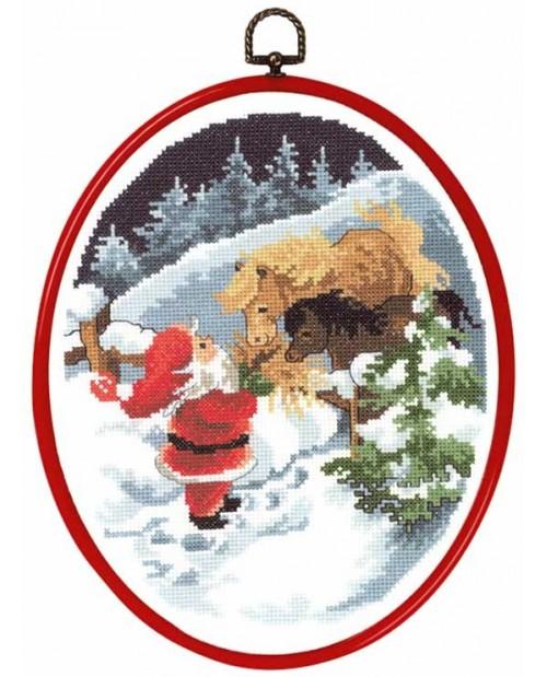 Santa Claus and horses