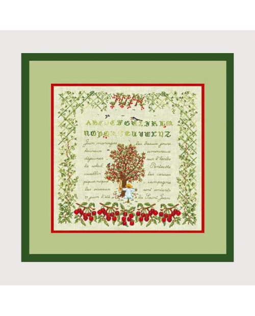 June. Embroidered design. Alphabet, cherries, cherry tree. Le Bonheur des Dames 1294