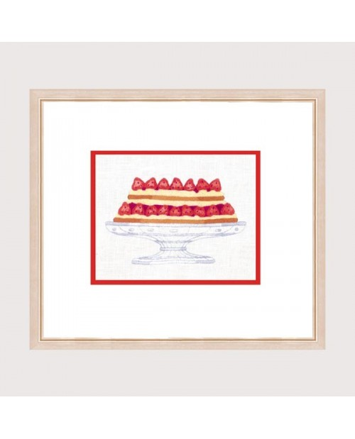 Fraisier. Cake with strawberries. Traditional embroidery motive to stitch. Le Bonheur des Dames