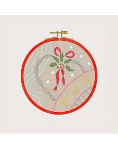 Kit broderie imprimé, broderie traditionnelle. Leçon de points de broderie, ambiance Noël. Le Bonheur des Dames 1544