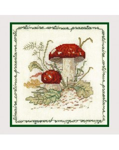 Mushroom cortinary. Counted cross stitch embroidery. Le Bonheur des Dames 1683