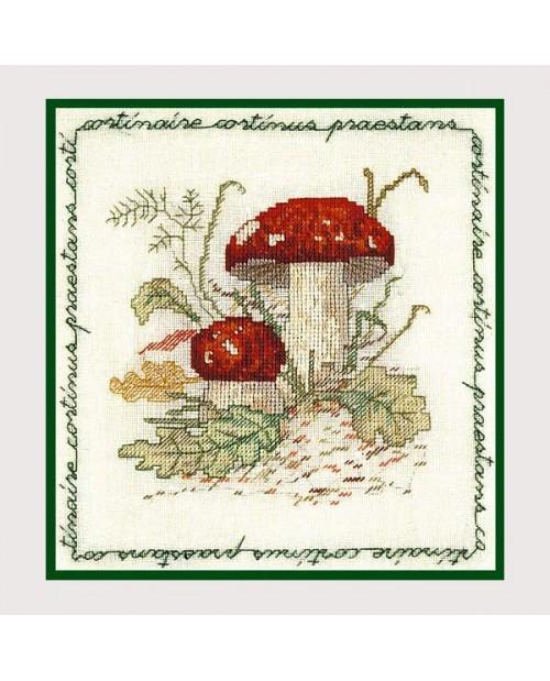 Champignon Cortinaire. Broderie point de croix. Le Bonheur des Dames 1683