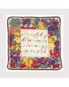 Fruits Alphabet. Printed Canvas kit. Embroidery. Le Bonheur des Dames