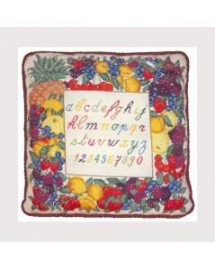 Kit de canevas. Broderie imprimé. Motif Alphabet et Fruits. Le Bonheur des Dames.