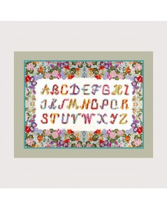 Sampler with flower border