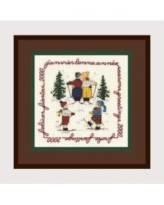 January. Counted cross stitch embroidery kit on Aida fabric. Motive: children skiers. Le Bonheur des Dames 2210