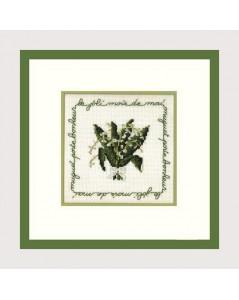 Mai. Kit broderie point de croix sur toile Aida. Bouquet de muguet. Le Bonheur des Dames 2213