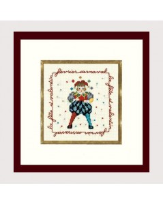 Joker in a carnival costume. Counted cross stitch embroidery kit. Le Bonheur des Dames. Item n°  2227