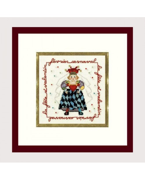 Lady Joker in a carnival costume. Counted cross stitch embroidery kit. Le Bonheur des Dames. Item n°  2228