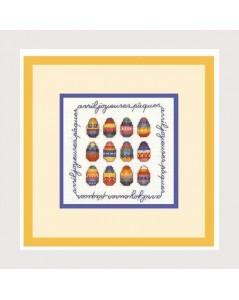 April Happy Easter. Coloured eggs. Counted embroidery kit. Le Bonheur des Dames. 2229