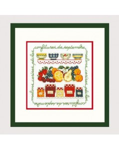 September Jams. Jars with jam. Counted cross stitch embroidery kit. Le Bonheur des Dames 2231