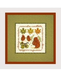 Novembre cueillette. Kit broderie point de croix. Motif: écureuils, automne. 2232. Le Bonheur des Dames
