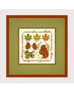 November Picking. Counted cross stitch kit. Motive: squirrels. Le Bonheur des Dames, Cécile Vessière. 2232