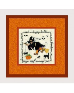 Happy Halloween. Counted cross stitch embroidery kit. Motive: withs, pumpkin, Halloween accessories. Le Bonheur des Dames 2233.