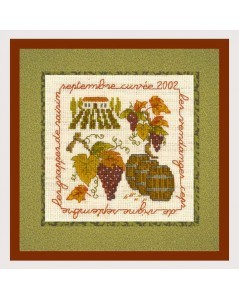 Vineyard. Fall motive to embroider by cross stitch. Kit Le Bonheur des Dames 2236.