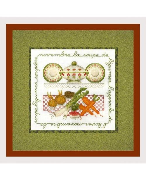 Vegetables soup. counted cross stitch embroidery kit. Motive: vegetables, soup tureen, plates. Le Bonheur des Dames 2237