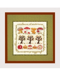 Autumn colors. Counted cross stitch embroidery kit. Fall motives. Cecile Vessiere for Le Bonheur des Dames. 2240