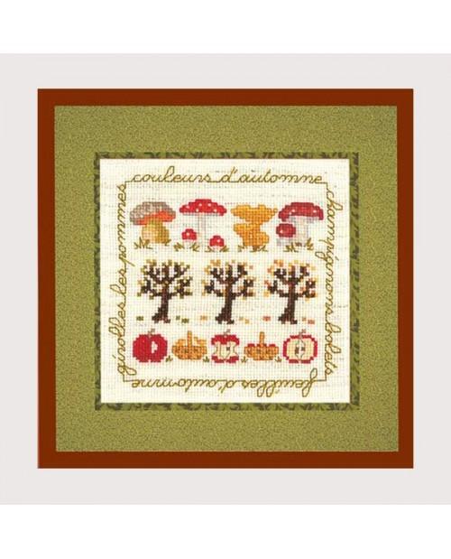Autumn colors. Counted cross stitch embroidery kit. Fall motives. Cecile Vessiere for Le Bonheur des Dames. 2240