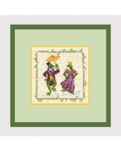Couple of frogs dressed in a costume and a dress with an umbrella. Embroidery kit n° 2242 Le Bonheur des Dames