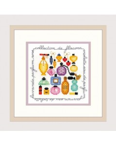 Perfumes. Counted cross stitch embroidery. Coloured bottles of perfumes. Le Bonheur des Dames 2248