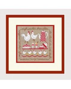 Les poules. Kit broderie point de croix, point compté. Le Bonheur des Dames. n° 2256