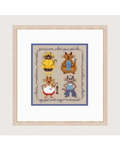 fours cats dressed as seamen embrodiered by cross stitch