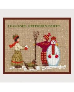 Garçon et fille avec bonhomme de neige et chien. Broderie point de croix. Le Bonheur des Dames. Référence 2325