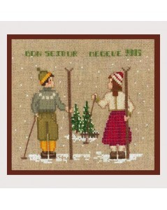 Two skiers, a girl and a boy. Counted cross stitch kit. Le Bonheur des Dames 2328