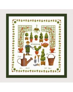 Garden accessories. Picture embroidered by counted cross stitch. 2615 Le Bonheur des Dames