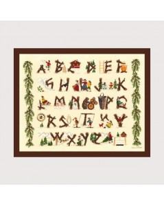 Sampler motive with logs. Alphabet to cross stitch. Le Bonheur des Dames 2619