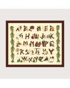 Sampler motive with logs. Alphabet to cross stitch. Le Bonheur des Dames 2619