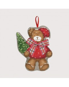 Bear with a tartan bow-tie. Counted cross stitch embroidery kit. Christmas décorative suspension. Item n° 2632