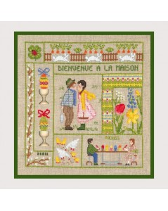 Welcome April. Counted cross stitch kit on Aida fabric. Le Bonheur des Dames 2653