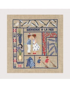 Welcome - July. Counted cross stitch kit. Design by Cécile Vessière for Le Bonheur des Dames 2656