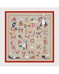 Mr Kitchen Sampler. Counted cross stitch alphabet to embroider on Aida fabric. Le Bonheur des Dames 2668