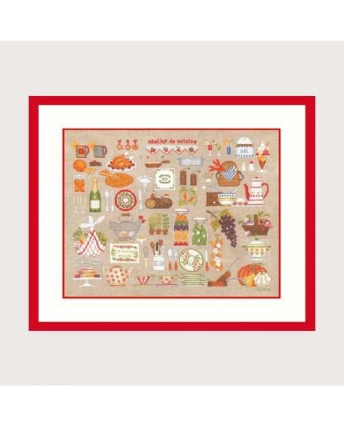 Kitchen workshop. Petit point and Cross stitch embroidery kit. Le Bonheur des Dames 2684.