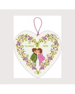 February heart box. Counted cross stitch embroidery kit. Le Bonheur des Dames 2718