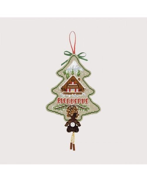 Sapin de Noël avec chalet et coucou à chaînes à broder au point de croix. Le Bonheur des Dames. Référence 2725. Kit broderie.