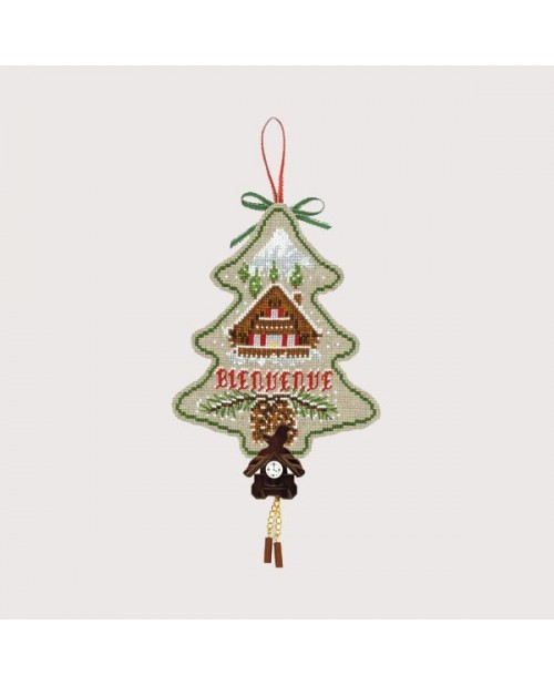 Christmas tree to cross stitch with chalet and wag-on-the-wall-clock. Le Bonheur des Dames embroidery kit. Item n° 2725.