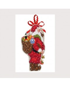 Santa Claus with knapsack. Counted cross stitch embroidery kit.  Le Bonheur des Dames 2734