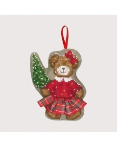 Bear in a tartan skirt with a little Christmas tree. Counted cross stitch embroidery kit. Le Bonheur des Dames. Item n° 2736